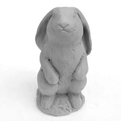 Cast Stone Standing Lop-Ear Bunny Garden Statue Antique Gray