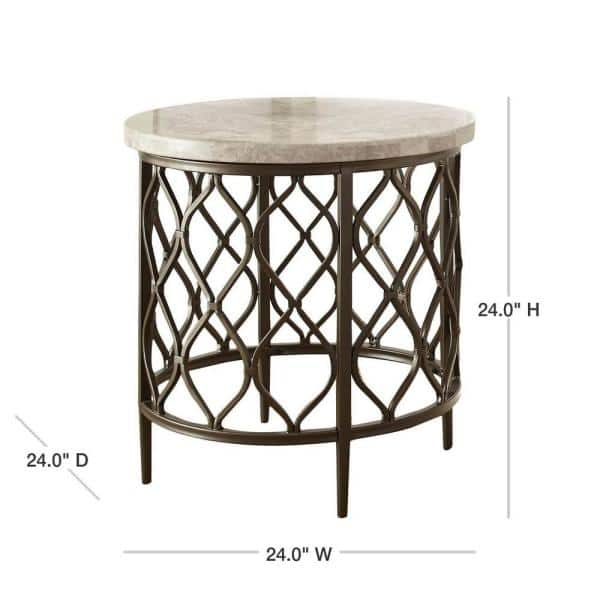 Roland Cream Marble Top End Table Rl100etbl The Home Depot