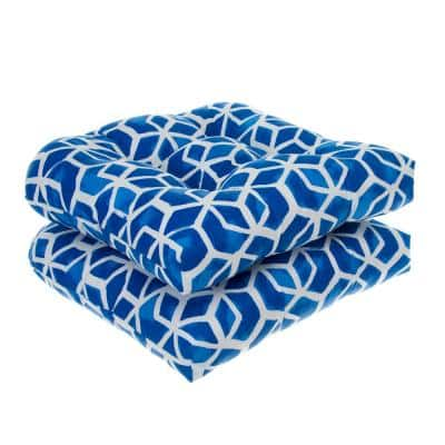 Cubed - Blue Wicker Seat Cushion With Ties 2 Pack