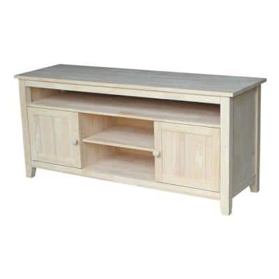 57 in. Unfinished Wood TV Stand Fits TVs Up to 60 in. with Storage Doors