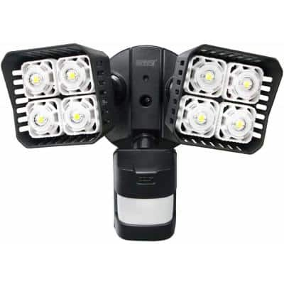 30-Watt 3400 Lumens 180-Degree Black Motion Activated Outdoor Integrated LED 5000K Waterproof Flood Light