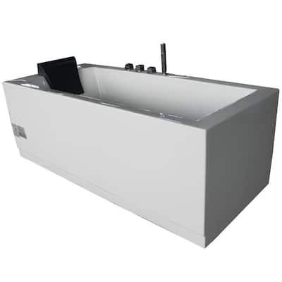 72 in. Acrylic Flatbottom Whirlpool Bathtub in White