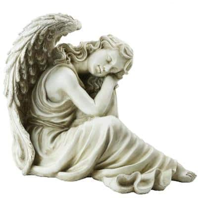 11.5 in. Resting Angel Religious Outdoor Garden Statue