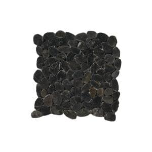 Rivera Pebbles Black Honed 12.01 in. x 12.01 in. x 11 mm Pebbles Mesh-Mounted Mosaic Tile (1 sq. ft.)
