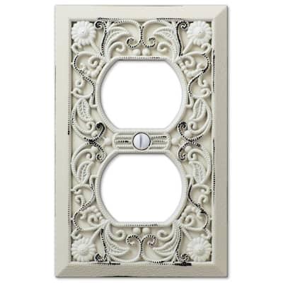 Filigree 1 Gang Duplex Metal Wall Plate - White