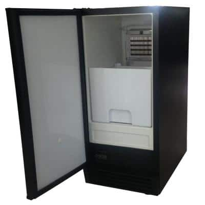 50 lbs. Self-Contained Black Steel Ice Machine, Energy Star Rated, Built-in or Freestanding without drain pump