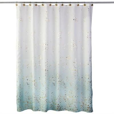 Splatter 72 in. Aqua Shower Curtain