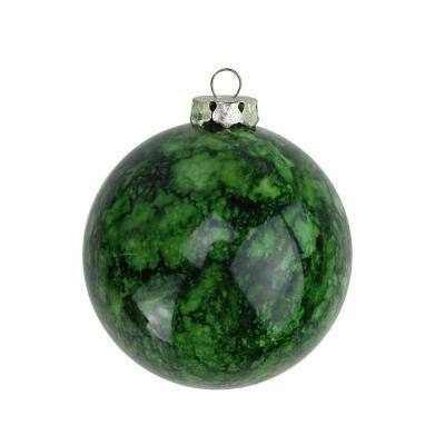 3.25 in. (80 mm) Marbled Green Shatterproof Christmas Ball Ornaments (4-Count)