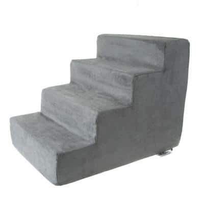 Gray High Density Foam Pet Stairs - 4-Steps with Machine Washable Furniture Cover and Nonslip Bottom