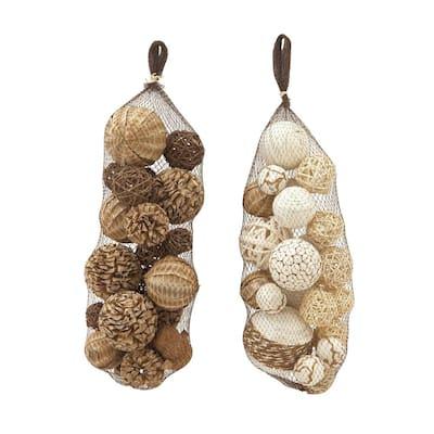 Brown Dried Flower Natural Nature Orbs and Vase Filler (Set of 2)