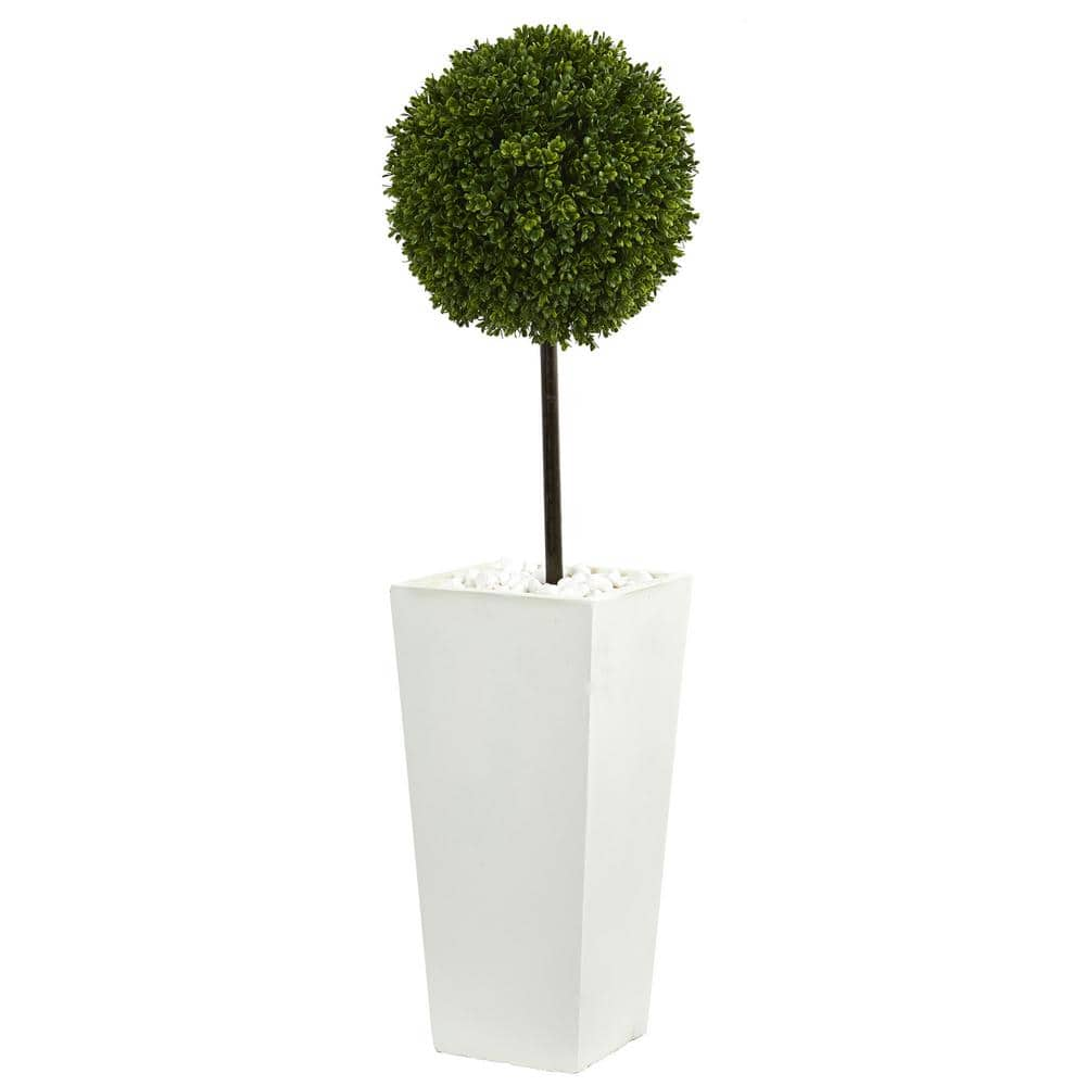 Nearly Natural 3 5 Ft High Indoor Outdoor Boxwood Ball Topiary Artificial Tree In White Tower Planter 5706 The Home Depot