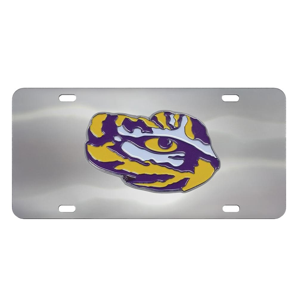 FANMATS 6 in. x 12 in. NCAA Louisiana State University Stainless Steel Die Cast License Plate
