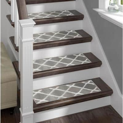Sofia Rugs Grey Stair Treads 9 in. x 28 in. Polypropylene Carpet Stair Tread Cover (Set of 13) Willow Stair Treads
