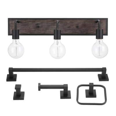 Auckland 24 in. 3-Light Black Vanity Light with Faux Wood Accent and Bath Set (5-Piece)