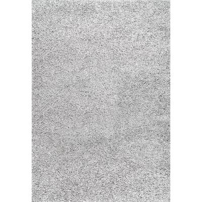 Marleen Plush Shag Silver 12 ft. x 18 ft. Area Rug