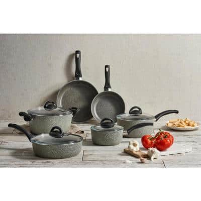 Parma 10-Piece Aluminum Ceramic Nonstick Cookware Set in Gray