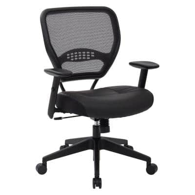 57 Series 26.5 in. Width Big and Tall Black Leather Ergonomic Chair with Adjustable Height