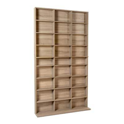 Elite Media Weathered Oak Storage Cabinet New/Improved Large 837CD/528DVD/624BR