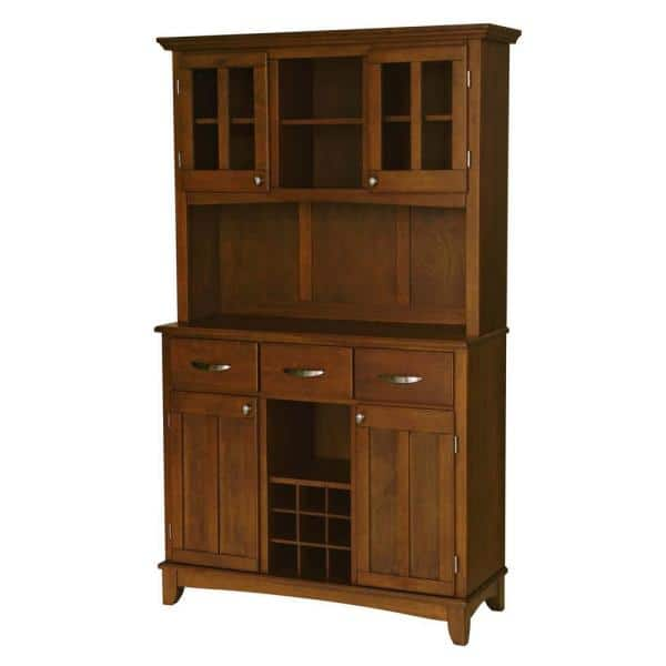 Homestyles Cherry Buffet With Hutch, Dining Room Hutch Buffet