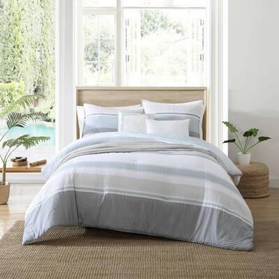Eastport 5-Piece Blue Striped Cotton Full/Queen Comforter Bonus Set