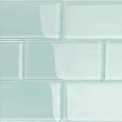 Contempo Seafoam 3 in. x 6 in. x 8 mm Polished Glass Subway Tile (32 pieces 4 sq.ft./Box)