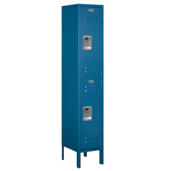 Salsbury Industries 62000 Series 12 In W X 66 In H X 12 In D 2 Tier Metal Locker Unassembled In Blue 62152bl U The Home Depot