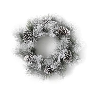 26 in. Artificial Flocked Pine Wreath