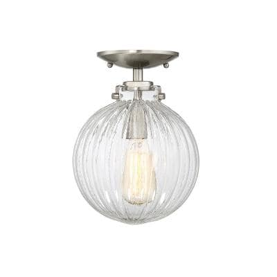 1-Light Brushed Nickel Semi-Flush Mount with Clear Ribbed Glass