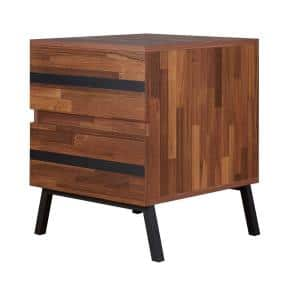 Brown and Black 2-Drawers Wooden End Table with Angled Leg Support