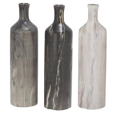 Grey Stoneware Contemporary Decorative Vase (Set of 3)