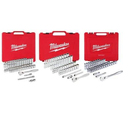 1/4 in. and 3/8 in. and 1/2 in. Drive SAE/Metric Ratchet and Socket Mechanics Tool Set (153-Piece)