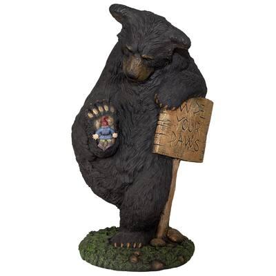 15.2 in. H Wipe Your Paws Bear Indoor/Outdoor Resin Garden Statue