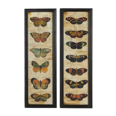 11 in. x 36 in. Each Large Colorful Vintage Butterfly Reflective Metal and Glass Wall Art Panels (Set of 2)