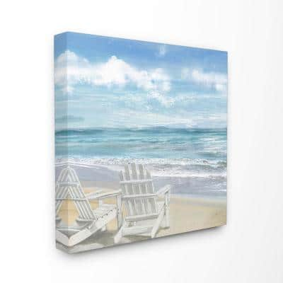 """24 in. x 24 in. """"White Adirondack Chairs on the Beach Painting""""by Artist Main Line Art & Design Canvas Wall Art"""