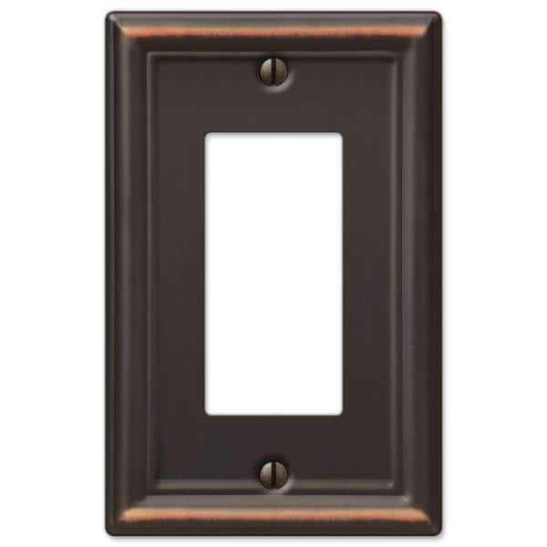 Hampton Bay Ascher 1 Gang Rocker Steel Wall Plate Aged Bronze 149rdbhb The Home Depot