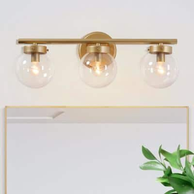 Modern Gold Bathroom Vanity Light Ismo 3-Light Indoor Wall Sconce Bath Bar Vanity Light with Clear Globe Glass Shades
