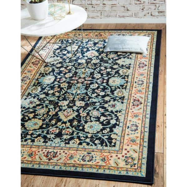 Unique Loom Sialk Hill Washington Navy Blue 8 0 X 10 0 Area Rug 3123493 The Home Depot