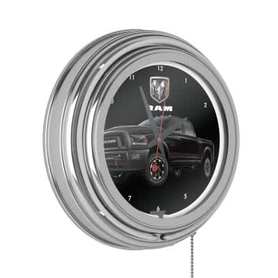 Neon Wall Clock Black and White with Pull Chain-Pub Garage or Man Cave Accessories Double Rung Analog Clock