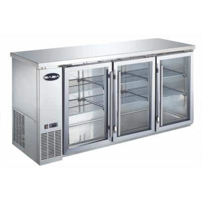 72 in. W 19.6 cu. ft. Commercial Under Back Bar Cooler Refrigerator with Glass Doors in Stainless Steel