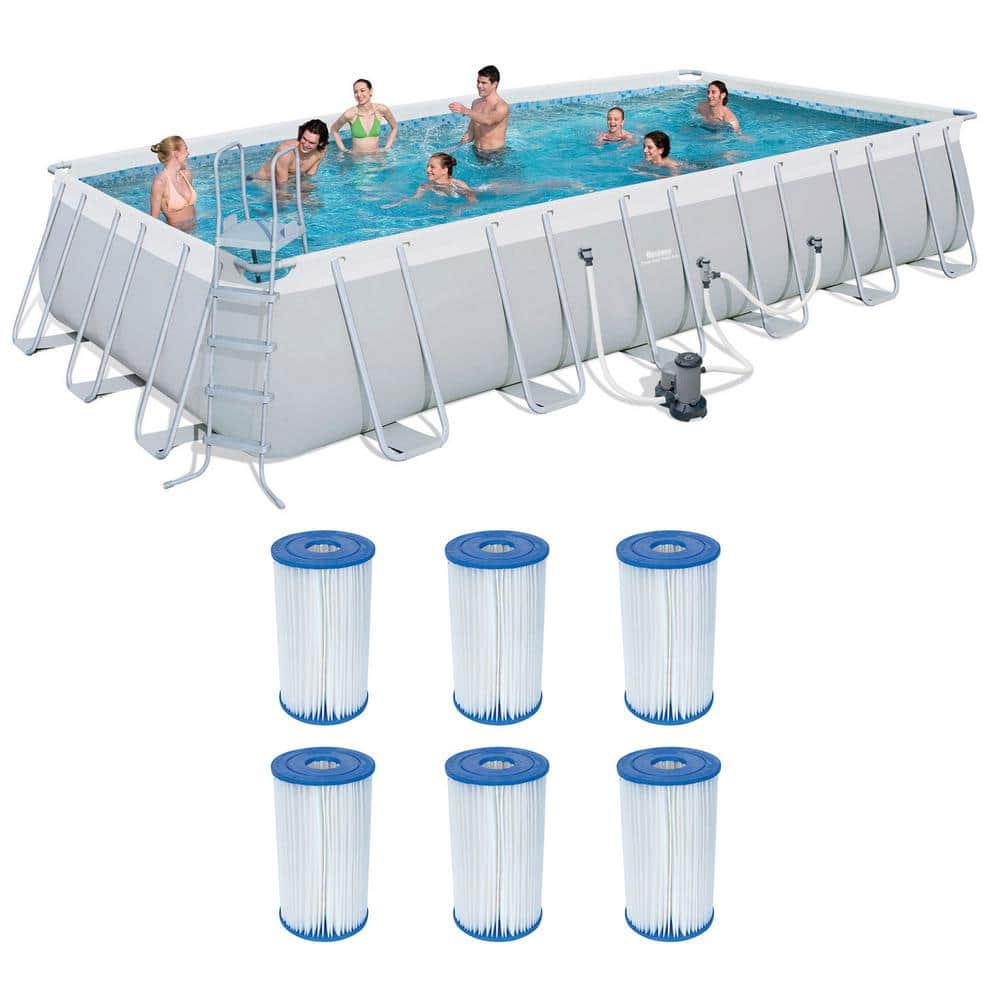 Bestway 24 Ft X 12 Ft Rectangular 52 In D Metal Frame Above Ground Pool And Type Iv B Cartridges 6 Pack 56542e Bw 6 X 58095e Bw The Home Depot