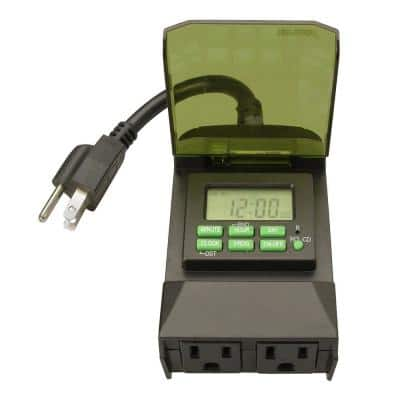 15-Amp 7-Day Outdoor Plug-In Dual-Outlet Digital Timer, Black