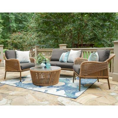 Terrell 4-Piece Wicker Seating Set with Gray Cushions