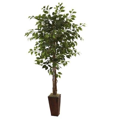 6ft. Indoor Artificial Ficus Tree in Bamboo Planter
