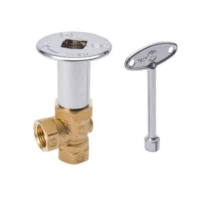 1/2 in. FIP Brass Angle Gas Valve, Floor Plate and 3 in. Key in Chrome