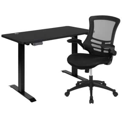 48 in. W x 24 in. D Black Electric Height Adjustable Stand Up Desk with Black Mesh Swivel Ergonomic Task Office Chair