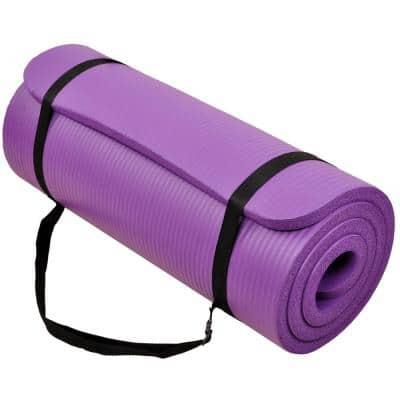 Multi-Purpose Purple 24 in. W x 68 in. L x 1/2 in. Thick Foam Exercise Yoga Mat with Carrying Strap (11.8 sq. ft.)