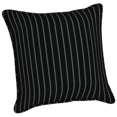 Acrylic 20 in. Black Ticking Stripe Throw Pillow