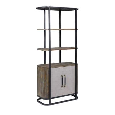 Bradenton 72 in. 2 Door Wood, Iron & Fabric Bookcase - 2 Cartons