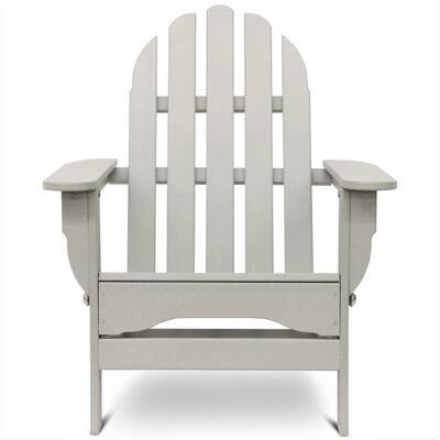 Icon Light Gray Plastic Folding Adirondack Chair
