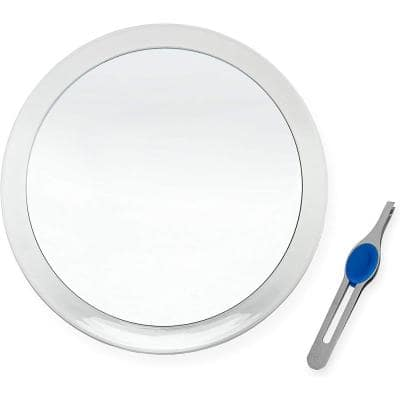 8 in. x 8 in. Large Suction Cup 10X Magnifying Mirror with Precision Tweezers